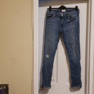 Hudson Jeans Tall Crop Skinny 27 Blue Distressed